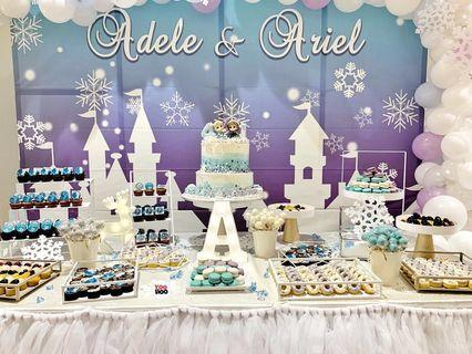 Baby shower birthday decoration dessert table 1 year old