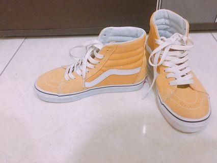 🚚 Vans 黃色高筒帆布鞋 22.5cm