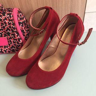 🚚 正紅色繫帶高跟鞋👠 24號 訂婚結婚