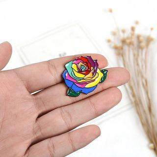 bnip rainbow flower lgbt pride enamel pin badge