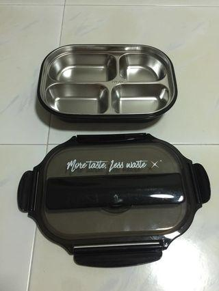 Plastic Lunch Box with Fork and Spoon - Black