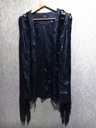 bebe Black Leather Fringe Outer