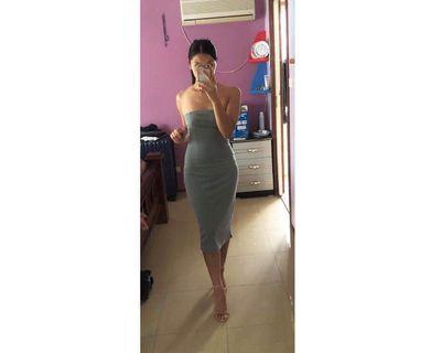 ZALORA strapless grey gray midi dress