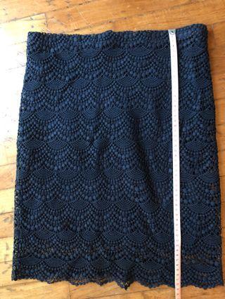 MNG dark blue crochet skirt M