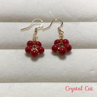 紅珊瑚阿卡耳環