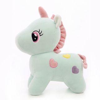 🚚 愛心夢幻獨角獸粉紅小馬絨毛娃娃湖水綠湖水藍馬卡龍色系填充絨毛玩具