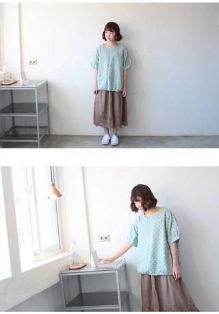 百搭水玉棉麻上衣(青色)
