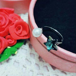 🚚 正生純銀藍星珍珠戒指