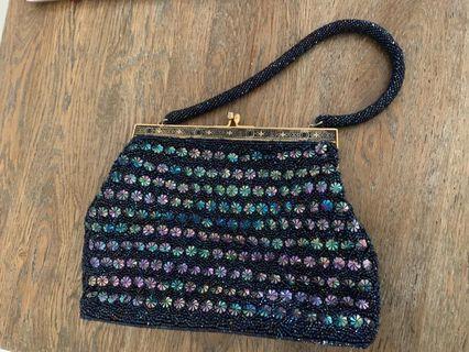 Handmade black beaded woman evening bag