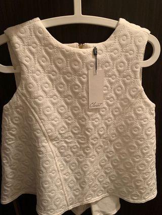 全新白色Closet 軟綿綿泡泡質感圖案背心
