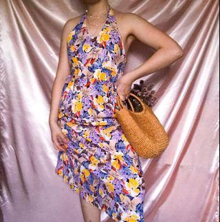 Vintage Floral Pattern Sleeveless Colour Block Halter Top
