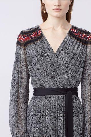 Cut label DVF silk motif wrapped dress