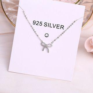 🚚 925純銀項鍊 鎖骨鍊 水鑽蝴蝶結