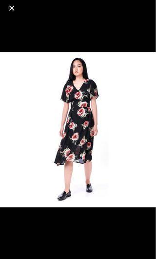 TEM Dharma Midi Dress (Black Floral)