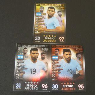 (新出板) Match Attax 101 Limited Edition 全套金銀銅 - Sergio AGUERO