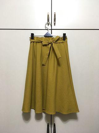 🚚 芥末黃波浪裙