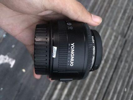 Lensa Fix Merek Youngnou 50mm F1.8 For canon mulus murah