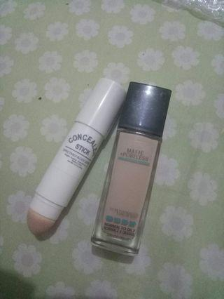 Package B = Maybelline matte and poreless shade 120+Miniso Concealer Stick
