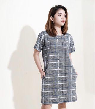 HTP Grid Shift Dress
