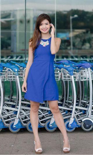 BN Tweed Overlap Dress in Cobalt Blue Eternity Loft