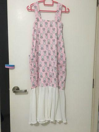 🚚 Pineapple pink strip long dress