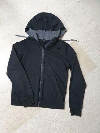 Boy Black Zipper Jacket with Hoodie