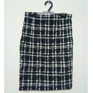 Checkered Office Wear Midi Pencil Skirt #MGAG101