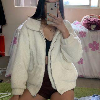white teddy jacket