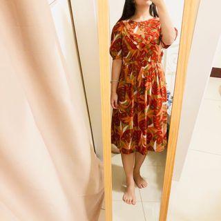 日本製 火橘色電信蘭復古泡泡袖洋裝 近全新