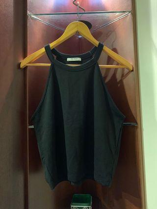 《二手》Zara削肩黑色短版上衣