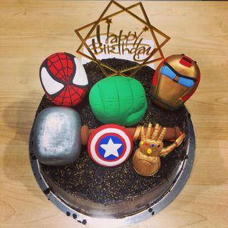 Avengers cake topper made of air dry clay