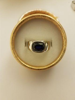 純銀包18k白金 人造藍寶戒指