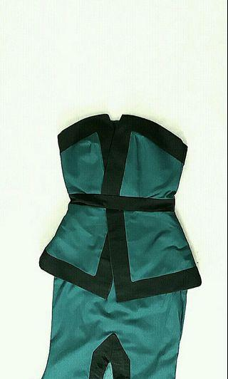 Custom Design Green & Black Strapless Peplum Long Dress with Back Train