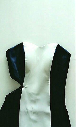 Custom Design Navy Blue & White Long Dress with Cut-Out