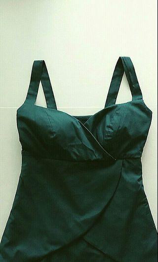 Custom Design Peplum Green Midi Dress with Shoulder Straps