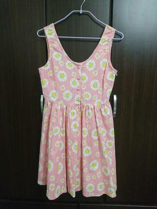 全新 粉色 夏日清新滿版花朵無袖洋裝
