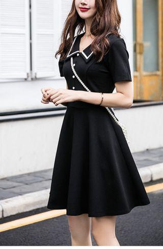 歐美高質修身黑色連身裙
