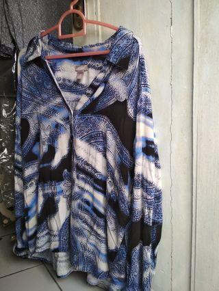 Blue Black Vintage Abstract Shirt