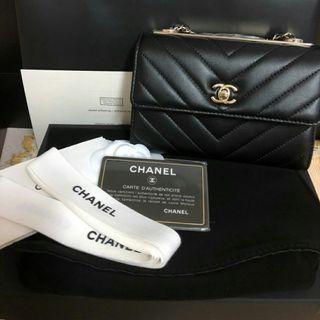 Chanel CC trendy woc斜紋V格 二手價出清