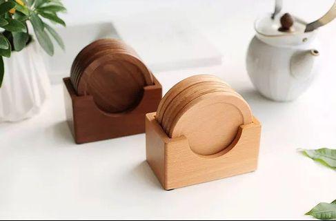 🚚 [instocks] round wood coasters set