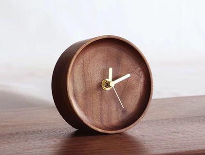 🚚 [instocks] round walnut brown table clock