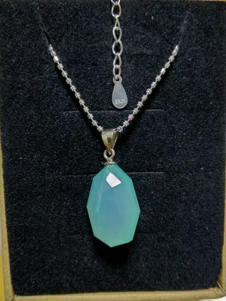 100%純銀,湖水藍水晶石吊咀