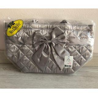 NaRaYa Silver Satin Small Tote Lunch Handbag