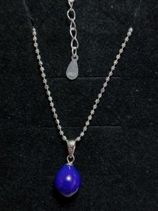 100%純銀寶藍色天然石,水滴型吊咀
