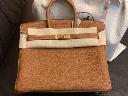 Hermes Birkin 25 Gold Togo leather gold hardware