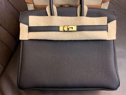 Hermes Birkin 25 Black Togo leather gold hardware