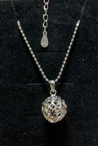100%純銀,心形通花繡球波波吊咀