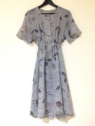 落葉橫條 古著洋裝