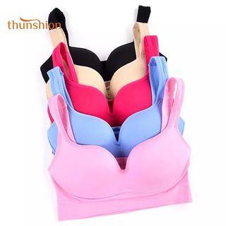 (PO) S-XL Sports Bra 5 Colors Ladies Padded Push up Yoga Fitness Daily Wear Wire Free Bra