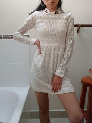 white lace Peter pan collar babydoll dress size 6 xs